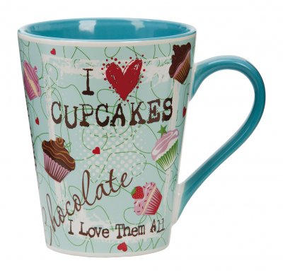 "Mugg med Text ""I Love Cupcakes"""